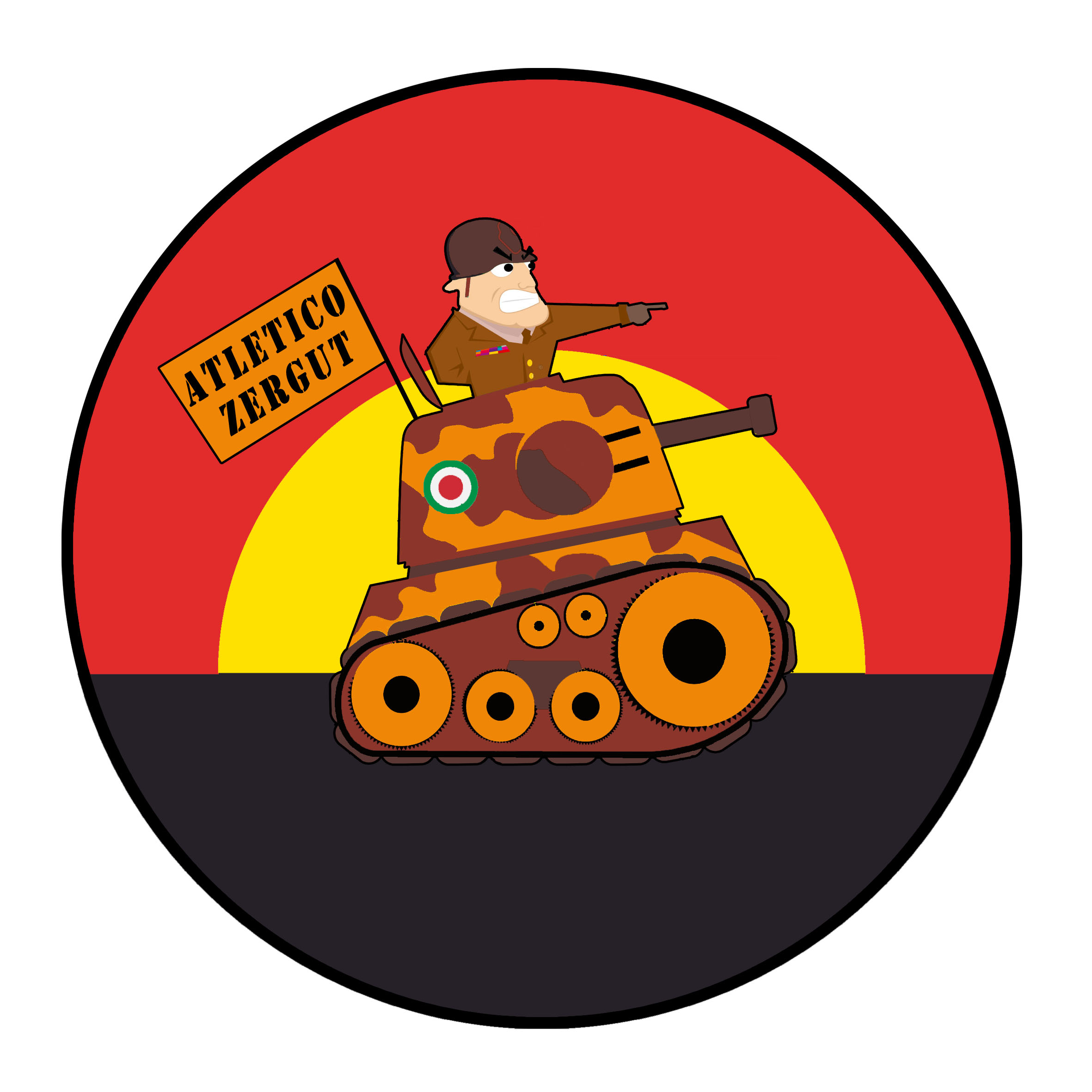 Cartoon tank with army soldier